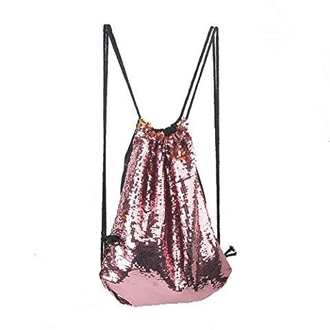 LUOEM Sequin Drawstring Bag Backpack Sports Bag Dance Bag (Pink)