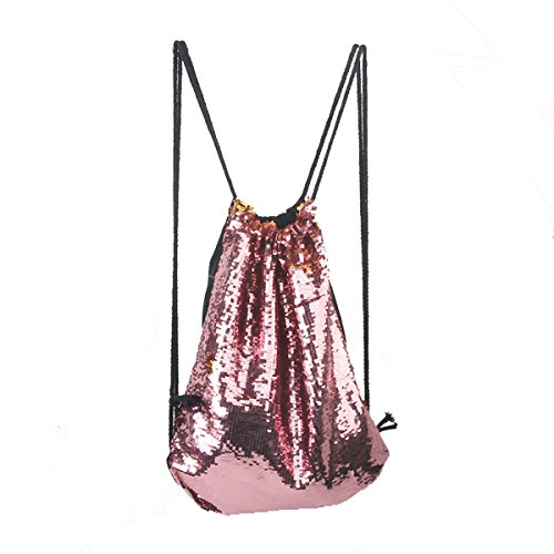 Tinksky Mode Glitter Bag Sackpack Pailletten Tunnelzug Rucksack (rosa)