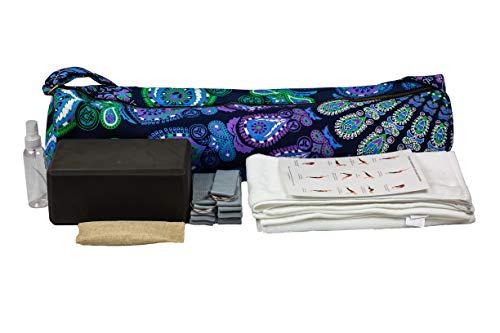 Mero Yoga-Starter-Set, beinhaltet 9 Teile: 1 Yogamatten-Tasche, 2 Handtücher, 2 Yogabänder, 1 Sprühflasche, 1 Yogablock, 1 Desodorier-Tasche und Anleitung (evtl. nicht in deutscher Sprache)