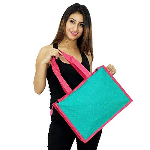 Handgemachte Frauen-Art- und Weisehandtaschen-Entwerfer-Baumwolljute-Tasche bestickte taschen Geschenk für sie Teal Blau und Pink