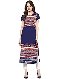 Kurta For Women - Straight Printed- PolyCrepe - Short Sleeves - Blue With Multicolor Design Round Neck - Long...