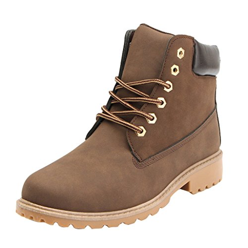 Damenschuhe Combat Boots - hibote Worker Boots Stiefeletten Stiefel Cowboy Stiefel Warm Gefütterte Stiefeletten Gr.36 / Braun