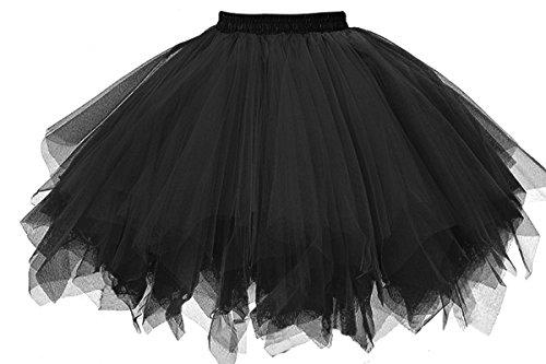 MuseverBrand 50er Vintage Ballet Blase Firt Tulle Petticoat Puffy Tutu Black Large/X-Large (1950's Dress Up Kostüm)