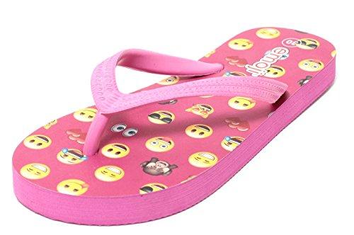 EMOJI Mädchen Zehengreifer Badepantolette Pantolette Badesandale Sandale Schuhe Gr. 30 – 35 pink bunt
