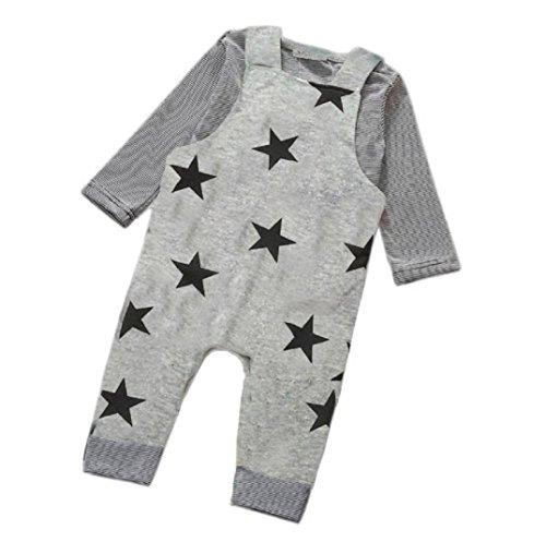 geborenen Kleinkind Baby Jungen Mädchen Strampler + Hut Overall Bodysuit Kleidung Outfit Kleidung-Set+4PCS Fingerpuppen (0-3 Monate, Grau1) (Niedliche Neugeborenen)