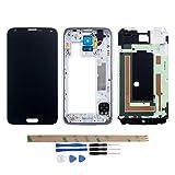 YHX-OU Für Samsung Galaxy S5 I9600 SM-G900 G900F LCD Display Touchscreen Ersatz Bildschirm mit Komplett Werkzeug (Schwarz+ Rahmen)