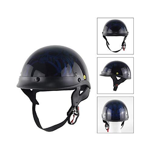 CPSTM Jethelm Motorrad Micro Roller Helm MTB Bike Motorrad Kleinkind Helm Kinder Motorrad Halbhelm Auto Puffer Kinnriemen Schädel Kappe Maßband Größe für Männer und Frauen (11,M)