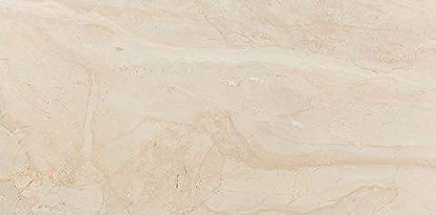 Beige Porcelain Glossy Rectified Floor Wall Tiles Bathroom Kitchen Ensuite - 42.5 cm x 86 cm
