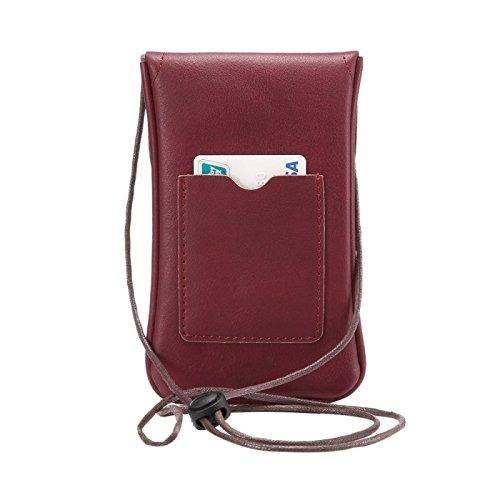 wkae Schutzhülle Case & Cover Universal Vertikal PU Leder Case/Leder Tasche mit String für iPhone 6S Plus, Samsung Galaxy Note 5& Note4/S7/S6Edge +, Huawei P8und P7/HONOR 6 Dark Red