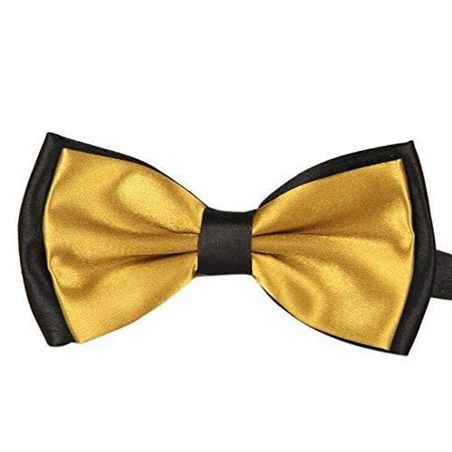 Goldatila Men's Ties, Cummerbunds & Pocket Squares Men's Two-Tone Bow Tie Mens Solid Color Satin Pre Tied Bow Ties -