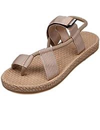e58f98c155d MOIKA Chaussures Femme Sandals Herringbone Bout Ouvert Style Tressée  Claquettes Danse Été Talons Plats Mocassins Mary