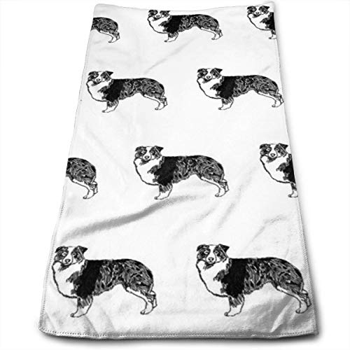 WTZYXS Australian Shepherd, Dog, Dogs, Pet, Black and White Hand Towels Dishcloth Floral Hand Towels Super Soft Extra Absorbent for Bath,Spa and Gym 12