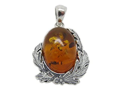 Amberta® Designer Solid Sterling 925 Silver with Genuine Baltic Amber Gemstone Fine Beautiful Nature Pendant - Bird's Nest - Oval Gem in Silver Nest Shape