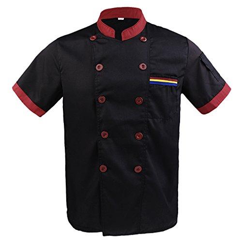 Baoblaze Frauen Herren Kochjacke Kurzarm Poly-Baumwolle Küche Hotel Kochkleidung Uniform Berufsbekleidung mit knöpfen - Schwarz, 3XL (Chef Länge Mantel Ärmel)