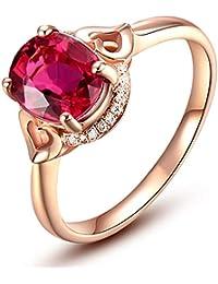 ce954e51b491 Blisfille Anillos de Diamantes Anillos de Compromiso Joyería Anillo 18  Kilates de Sangre de Paloma Anillo de Oro…