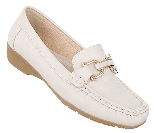 Damen Mokassins Schuhe Slipper Loafers Moderne Creme