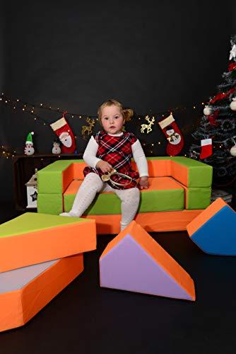 Kindersofa Schaumstoff Spielsofa mit Bettfunktion 4in1 Matratze Spieltisch Puzzle, Sofa Spielzeug (Orange)