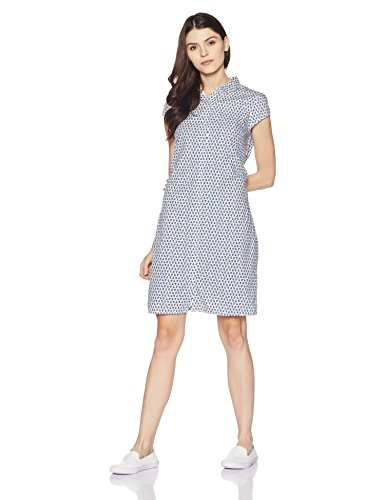 Tommy Hilfiger Womens Cotton Shirt Dress (A6BWV010_Snow White and Multicolor_XS)