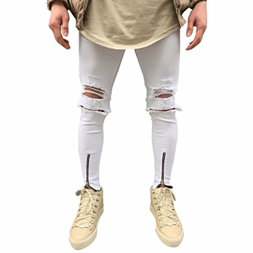 LSAltd Mens Ripped Skinny Jeans Biker Slim Fit Zipper Denim Jeans Trousers Hip Hop Streetwear Long Pants (White, 31) (Fabric Extender)