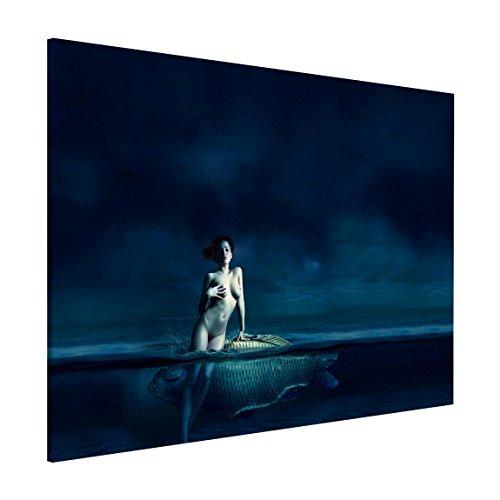 Bilderwelten Magnettafel - Frauenakt mit Fisch - Memoboard Quer 3:4, Größe: 30cm x 40cm