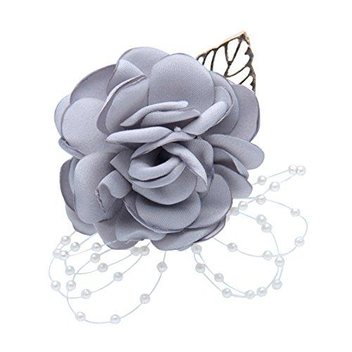BaconiXfF 1Stück Brautschmuck Hochzeit Rose Stretch-Armband Handgelenk Corsage Brautjungfern Ball Schule Dance Handgelenk Corsage Hand Flower, Textil, Grau, 35g