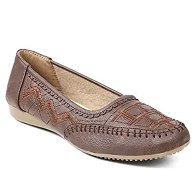 meriggiare® Women PU/Synthetic Leather Slip-ons Handcrafted Detailed Work Casual/Evening/Party/Ethinic wear Comfortable Ballet Flats/Bellies/Ballerina Shoes- Brown
