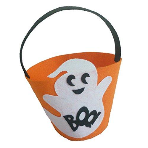 SunniMix Halloween Party Süßigkeitseimer Körbe Totes Geschenk Taschen Süßes Sonst Gibt's Saures Taschen - Weiß