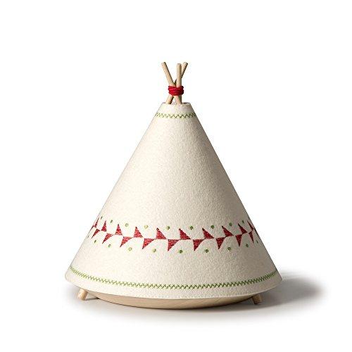 Buokids TIPI04 Lámpara de Sobremesa, Madera, Rojo, 20.5 x 20.5 x 22cm