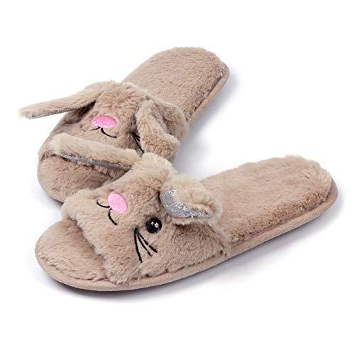 Women Open Toe Slippers | Cute Bunny Unicorn Animal Slipper | Soft Fleece Memory Foam Anti-Slip