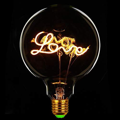 TIANFAN Bombillas de luz vintage LED 4 W regulable Amor/Letra Hogar Bombillas Decorativas 220/240V E27 Lámpara de Mesa, vidrio, Love, E27, 4.00W 240.00V
