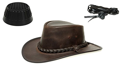 BC Hats BC BacPac Traveller Hat - Outback Edition - Brown Steerhide M (55-56) + Hutablage & Kinnriemchen