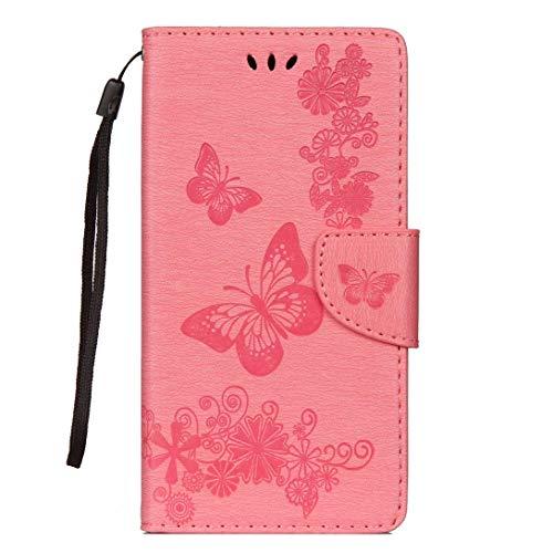 Uposao Handyhülle für Samsung Galaxy A6 Plus 2018 Leder Tasche Schutzhülle Handytasche Prägung Schmetterling Muster Retro Vintage Ledertasche Leder Hülle Bookstyle Klapphülle Flip Case Cover,Rosa