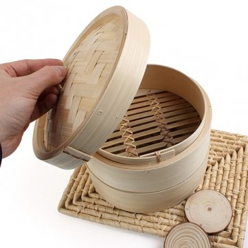 Souked Tier 2 Bamboo Steamer Dim Sum Korb Reis Nudelkocher