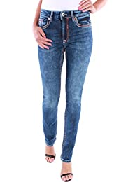 Damen High Waist Straight Fit Leg Jeans Jeanshose mit Dicken Nähten ... 89cd11e0e9