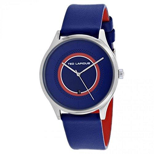 Ted Lapidus Classic Homme 41mm Bracelet Cuir Bleu Quartz Montre 5131902