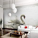 Papel Tapiz De Arte Moderno White Swan Lake Photo Wall Mural Café Comedor Hotel Decoración Del Hogar Sencillo Papeles De Pared De Lujo 200X140Cm