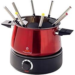 Masterchef Junior Fondue Easy Party Fondue pour 8 Personnes de 1500 W, capacité de 1,4 L, contrôle de température continu, Rouge
