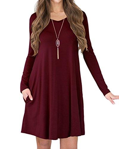 VIISHOW Damen Langarm Taschen Casual Ebene Lose T-Shirt Kleid (Weinrot XL)