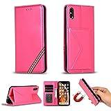 Miagon für iPhone XS Max Hülle,Wallet Case Cover Schutzhülle und Klapp Magnetisch Flip Bumper Ledertasche Schutzhülle,Rose Rot