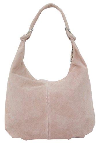 AMBRA Moda Damen Wildleder Schultertasch Damen Handtasche Hobo-Bags Shopper Beuteltaschen Veloursleder Suede Ledertasche DIN-A4 42cm x 35cmx 4cm WL803 (Rosa)