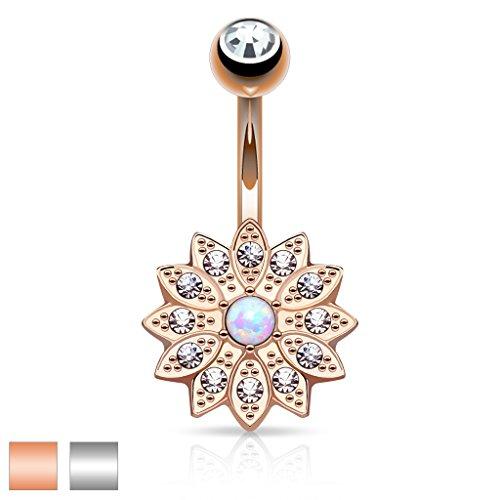 Kultpiercing–Piercing nombril Barbell Piercing Nombril Fleur de cristal clair opale (Rose Or ou Argent) Silber