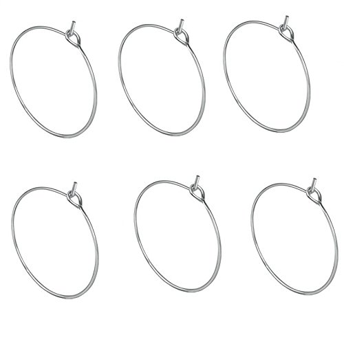 Homgaty 100 Pcs Stainless Steel Wine Glass Charm Rings Earring Hoops Wedding Party Decorations by Homgaty