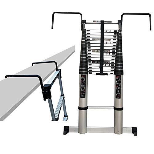 ZAQI Échelle télescopique Haute de 5 m / 6 m / 7 m / 8 m avec Crochet Amovible et Barre stabilisatrice, Échelle en Aluminium à rallonge pour loft Industriel à la Maison, capacité de Charge 150 kg
