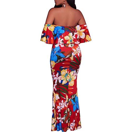 Synker Damen Sommerkleid Blüte Drucken Cocktailkleid Schulterfrei Lang Abendkleid Partykleid Maxikleid Rot