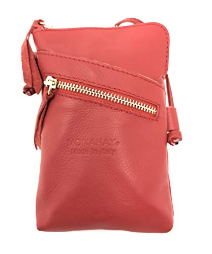Monahay Small Italian Leather Cross Body Mobile Phone and Passport Travel Pouch Bag MH9723 (rot/rot) - Passport Travel Tote
