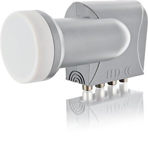SCHWAIGER 296- Quad LNB, 4-fach, digital (4 Teilnehmer), für den Einsatz mit Satellitenschüssel, multifeed-tauglich mit Wetterschutz und vergoldeten Kontakten, Hellgrau