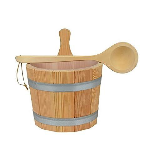 Sauna Set 3-teilig #608 Kübel aus Lärchenholz, Kunststoffeinsatz,