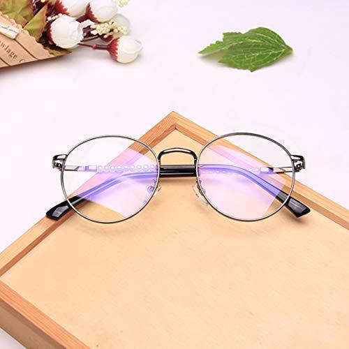 Shiduoli Brillen ohne Brillenmode Runde Brillen Unisex Stilvolle Gläser Brillenglas Brillen (Color : Brass)
