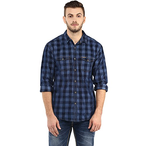 Spykar Mens Navy Retro fit Mid Rise Casual Shirts (X-Large)