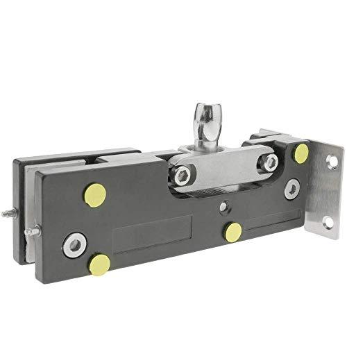 41tUx5XfjtL - PrimeMatik - Pernio y bisagra Fija Superior de Aluminio para Puerta de Cristal para cierrapuertas de Suelo